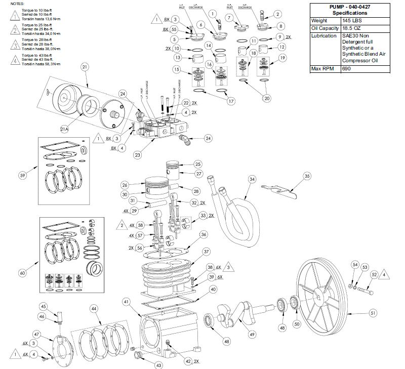 040-0427 - Air Compressor Pump Parts schematic
