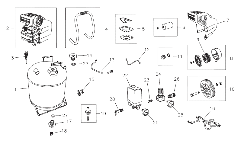 74005 - Air Compressor Parts schematic