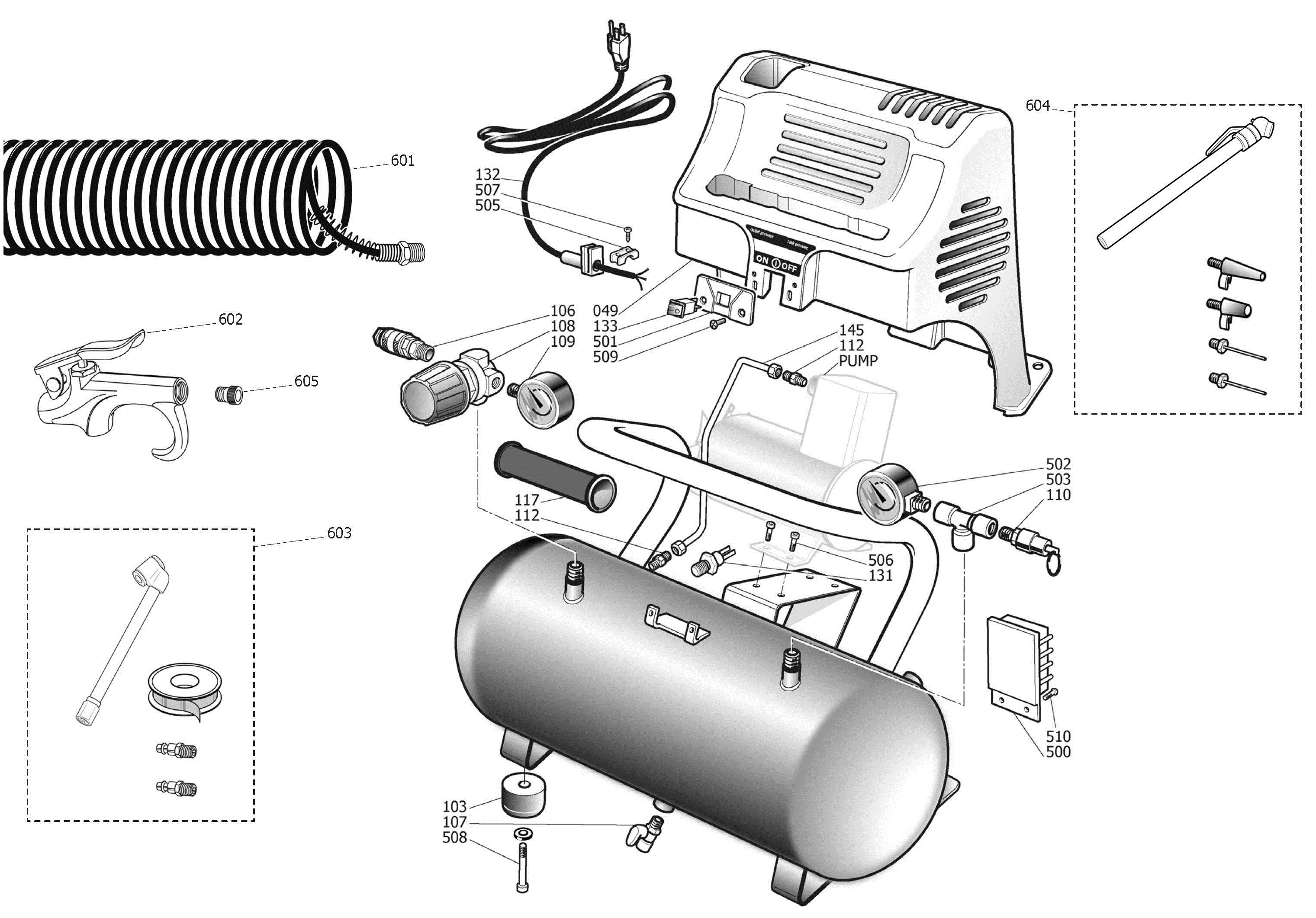 107.10265 - Oil-Free Portable Air Compressor Repair Parts schematic