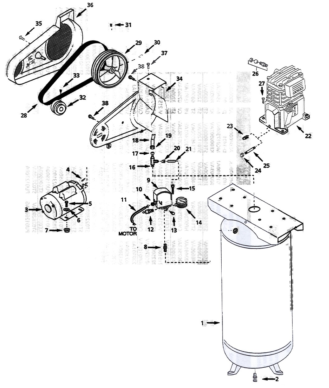 VT627501 - Air Compressor Parts schematic
