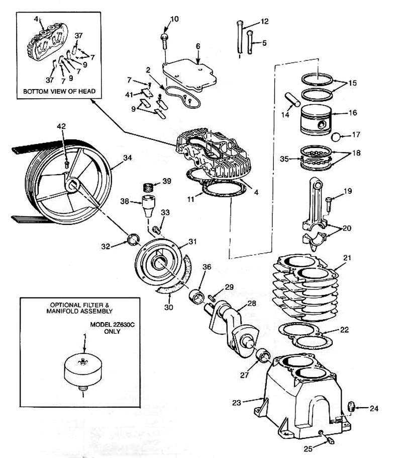2Z499C, 2Z630C - Air Compressor Pump Parts schematic