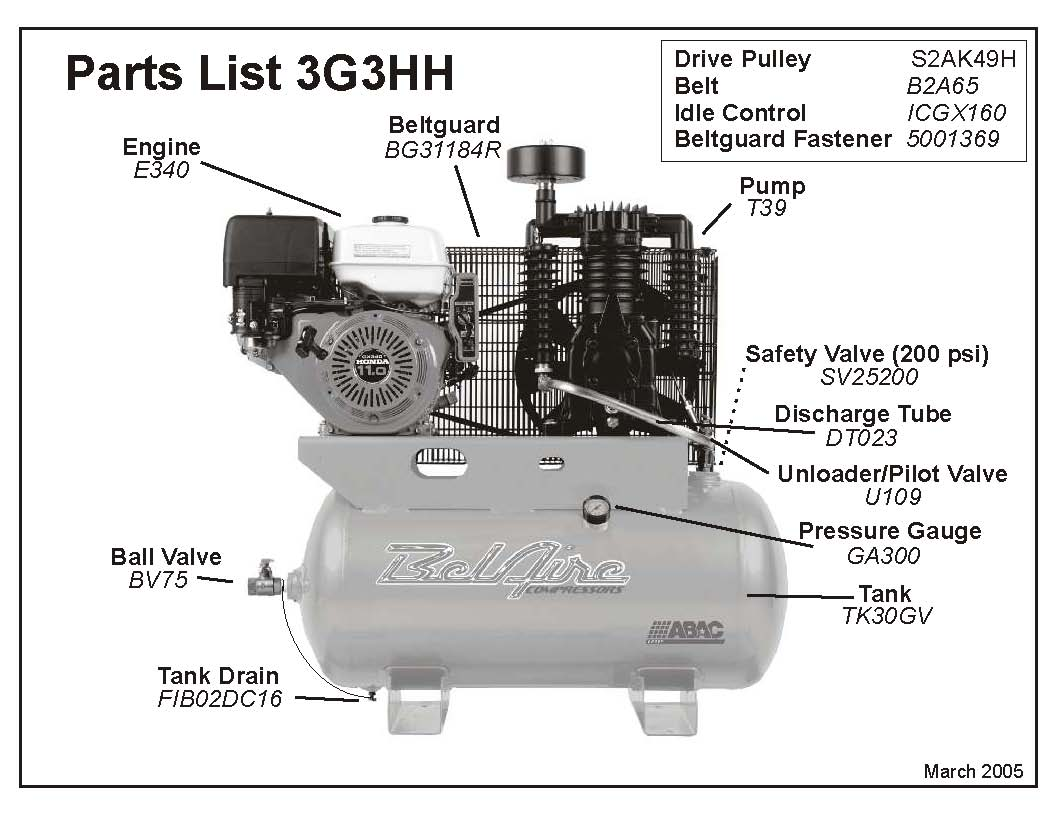 Belaire 3g3hh Amp 3g3hhl Air Compressor Parts