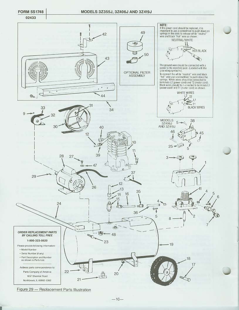 3Z406J - Air Compressor Parts schematic