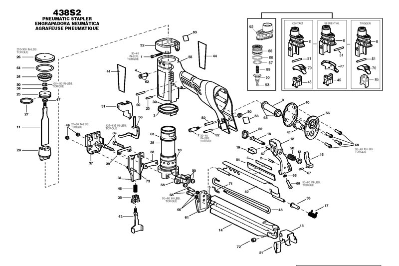 438S2 - Pneumatic Stapler Parts schematic