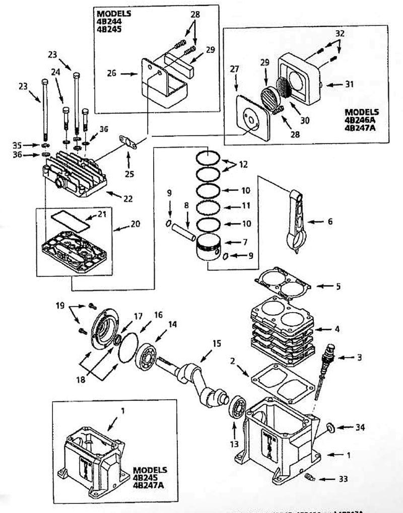 4B244, 4B245 - Air Compressor Pump Parts schematic