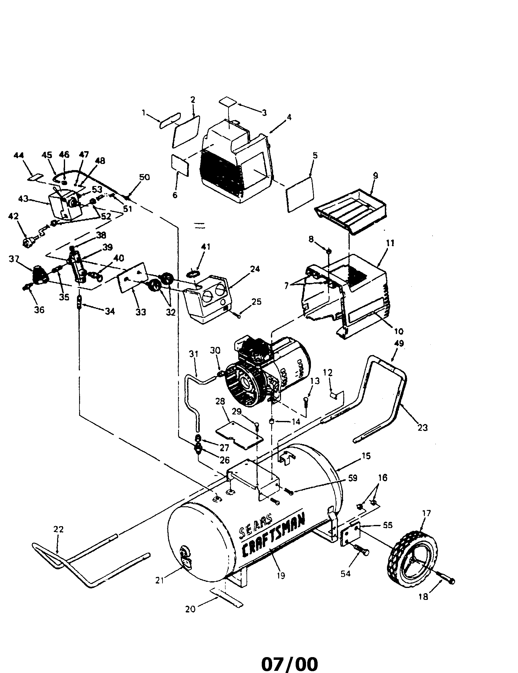 Wiring Diagram For Craftsman Air Compressor 43 Pressor 240 Volt Motor 919153231 Parts Sears 919 153231 At