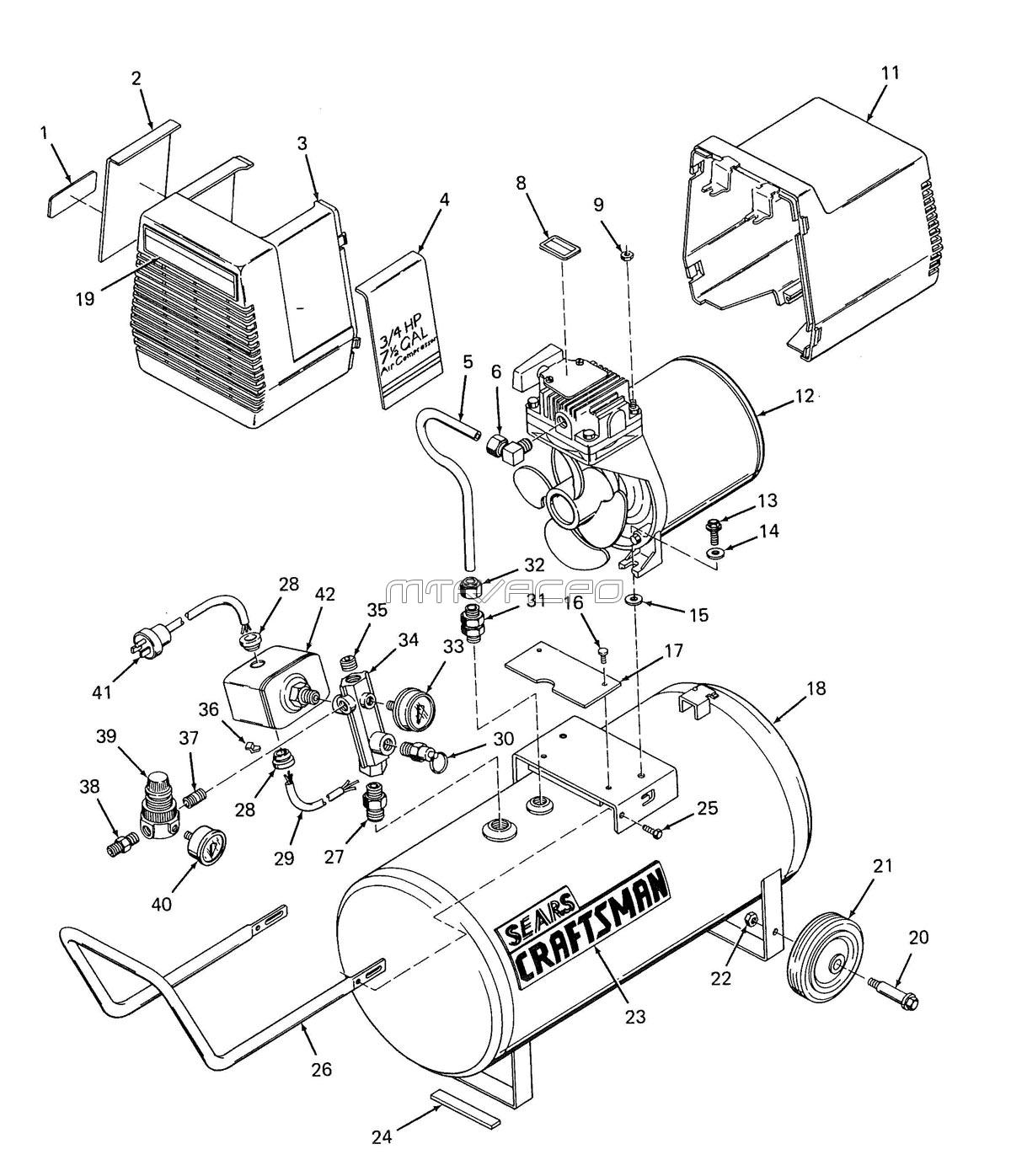 Craftsman Tool Replacement Parts : Sears craftsman air compressor parts