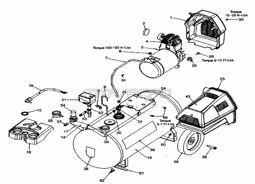 919.167340 - Portable Oil-Free Electric Air Compressor Parts schematic