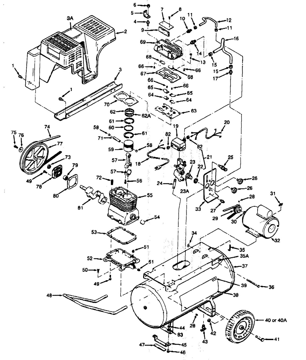 919.176210, 919.176320 - Portable Oil-Bath Electric Air Compressor Parts schematic