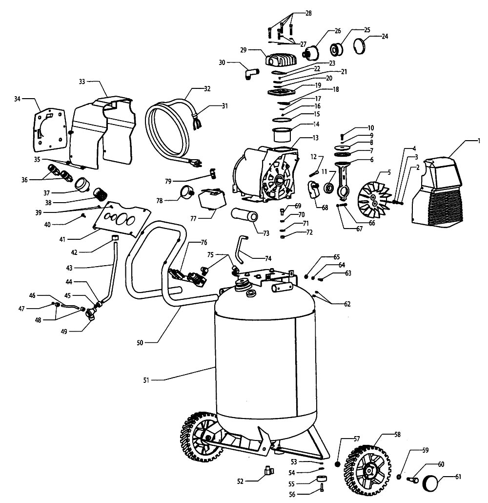 Sears Craftsman Air Compressor Parts 106 174541 Auto Electrical Connectors Wiring Ford Harness Wpt727 Old