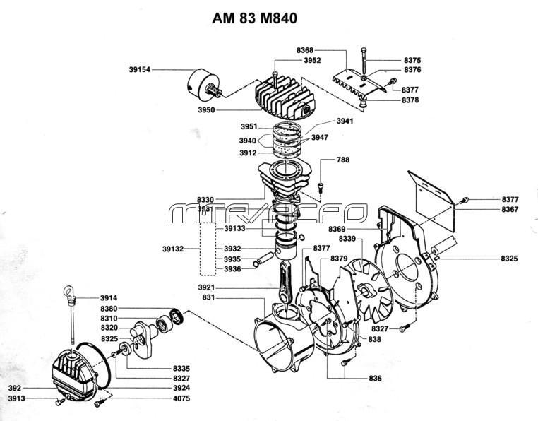 AM83, AM84 - Air Compressor Pump Parts schematic