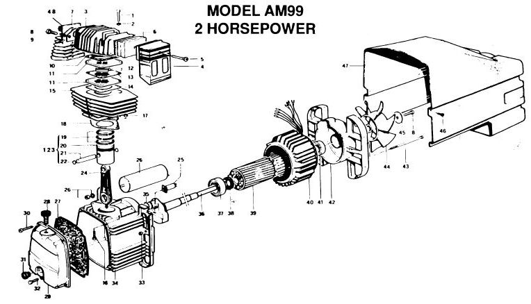 AM990-8P - Wheeled Portable Oil-Bath Air Compressor Parts schematic