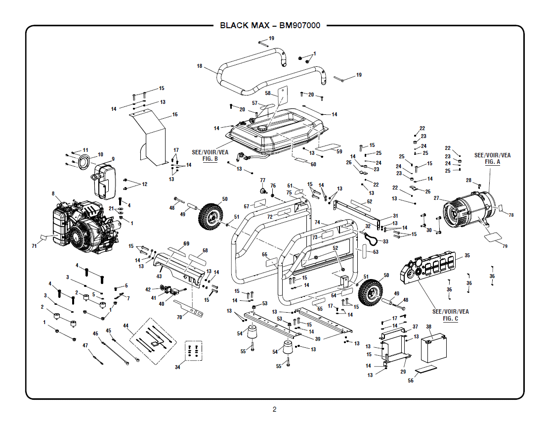 BM907000_ Gen blackmax bm907000 portable generator parts husky 5000 watt generator wiring diagram at mr168.co