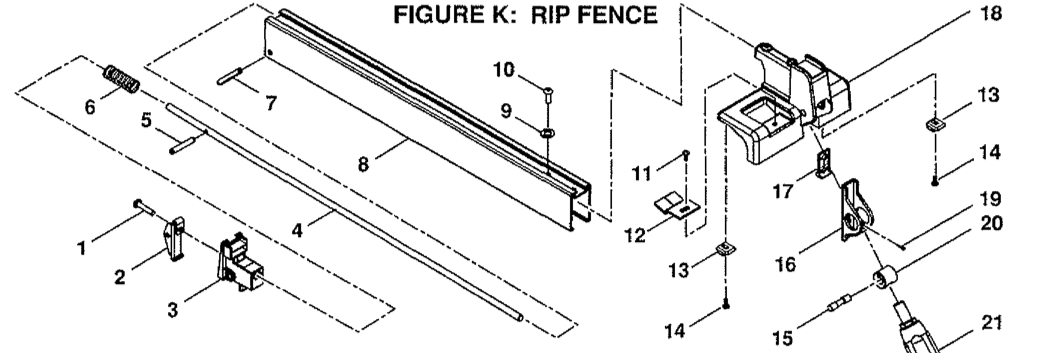 bts20 rip fence table saw rip fence parts schematic