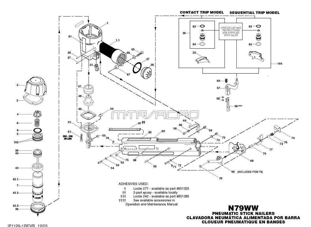 N79WW - Pneumatic Framing Nailer Parts schematic