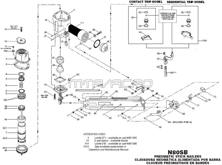 coil gun schematic with Pneumatic Framing Nailer Parts N80sb P 4061 on Delta Electronics Power Supply Schematics furthermore Tattoo Gun Wiring Schematics likewise Stun Gun Schematics Circuits furthermore US20080078271 besides Amana Defrost Timer Wiring Diagram.