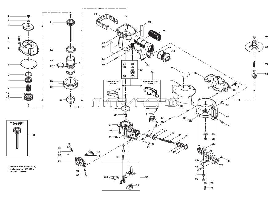 RN45B   Pneumatic Coil Roofing Nailer Parts Schematic