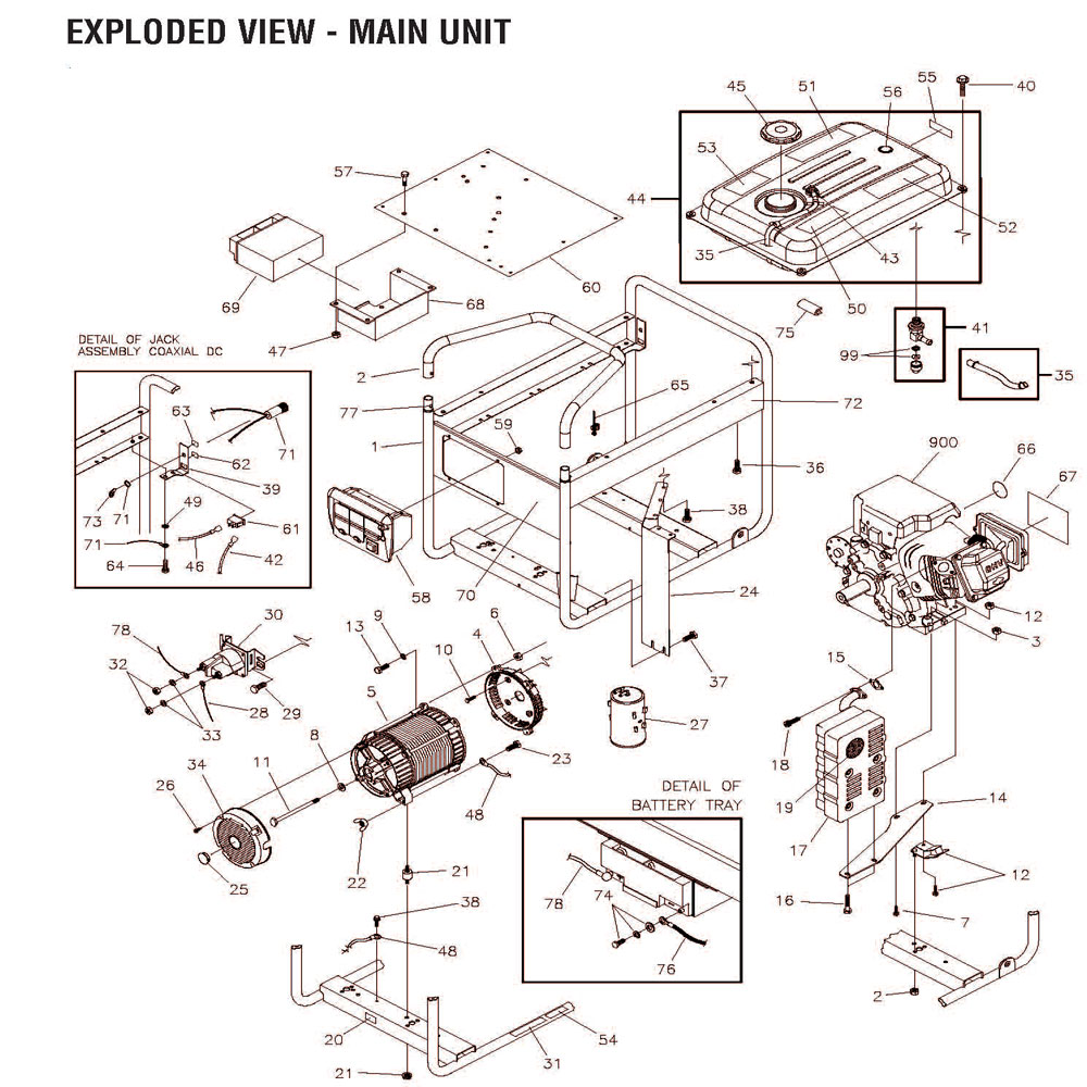 030452, 030452-0 - Generator Main Unit Parts schematic