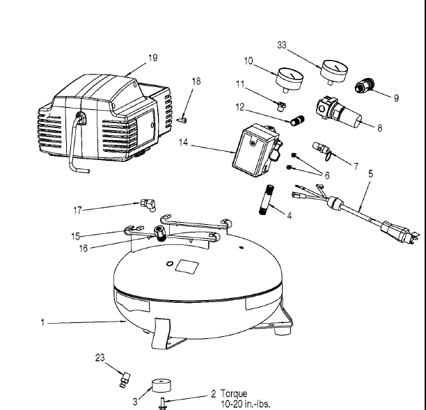 C2000 - Portable Oil-Free Electric Air Compressor Parts schematic