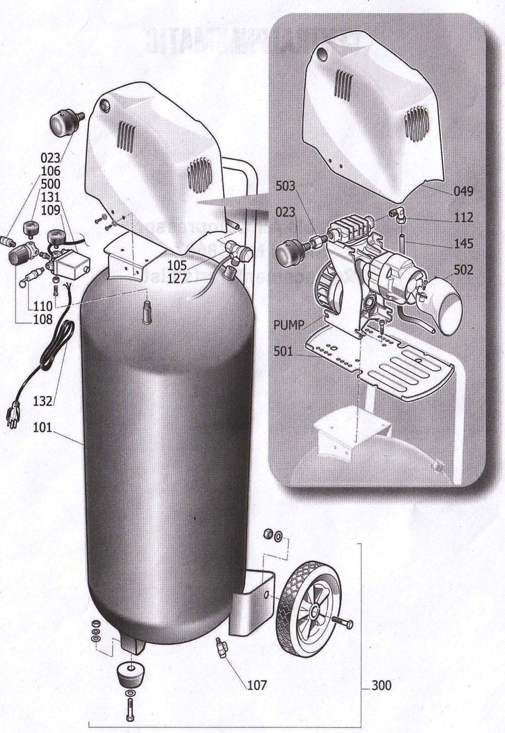 68067 - Portable Oil-free Air Compressor Parts schematic