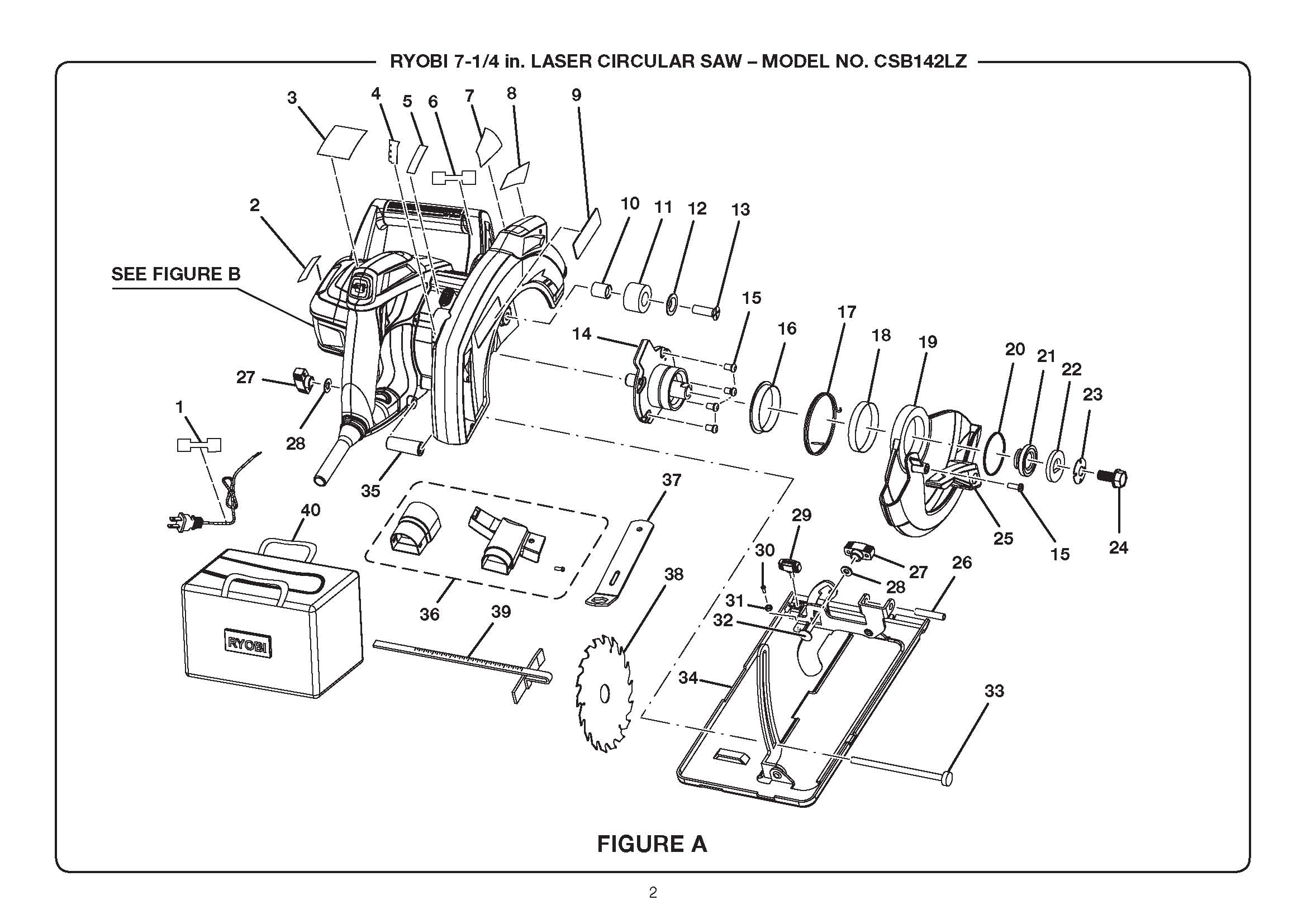 CSB142LZ - Circular Saw Parts schematic