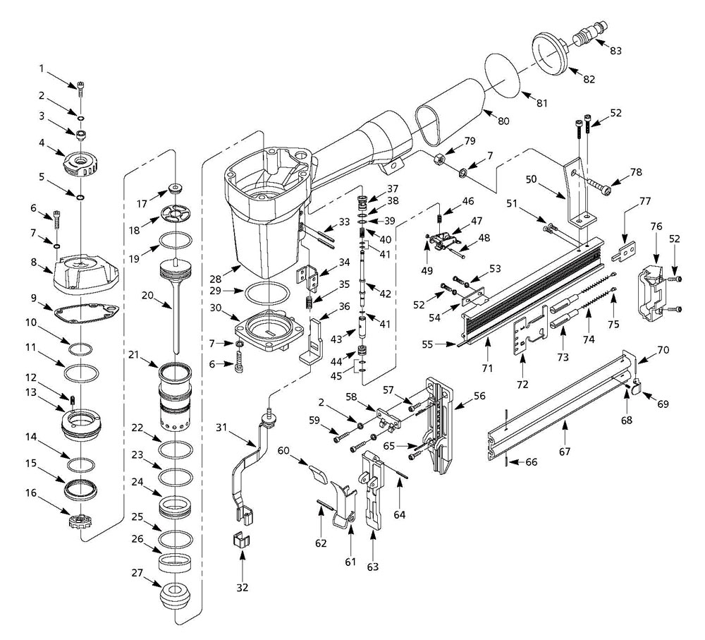 NB006750 - Pneumatic Brad Nailer Parts schematic