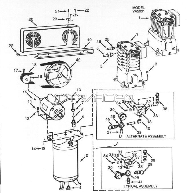 VT619500, VT620900, VT558704 - Air Compressor Parts schematic
