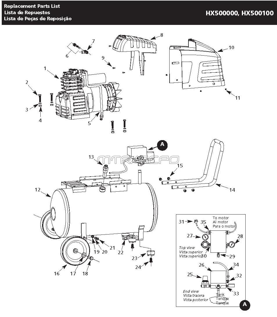 Campbell Hausfeld HX500000, HX500100 Air Compressor Parts