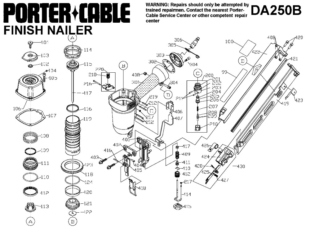 DA250B - Pneumatic Finish Nailer Parts schematic