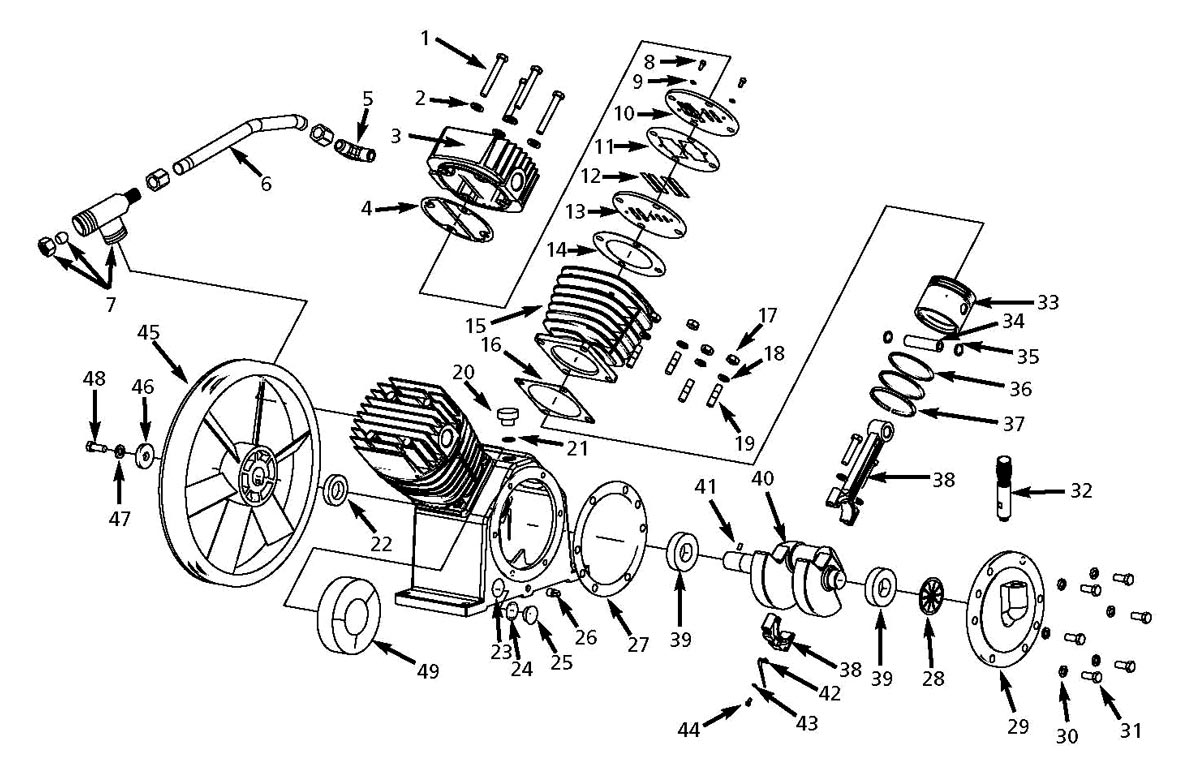 DP500002AV, DP210100AV - Air Compressor Pump Parts schematic