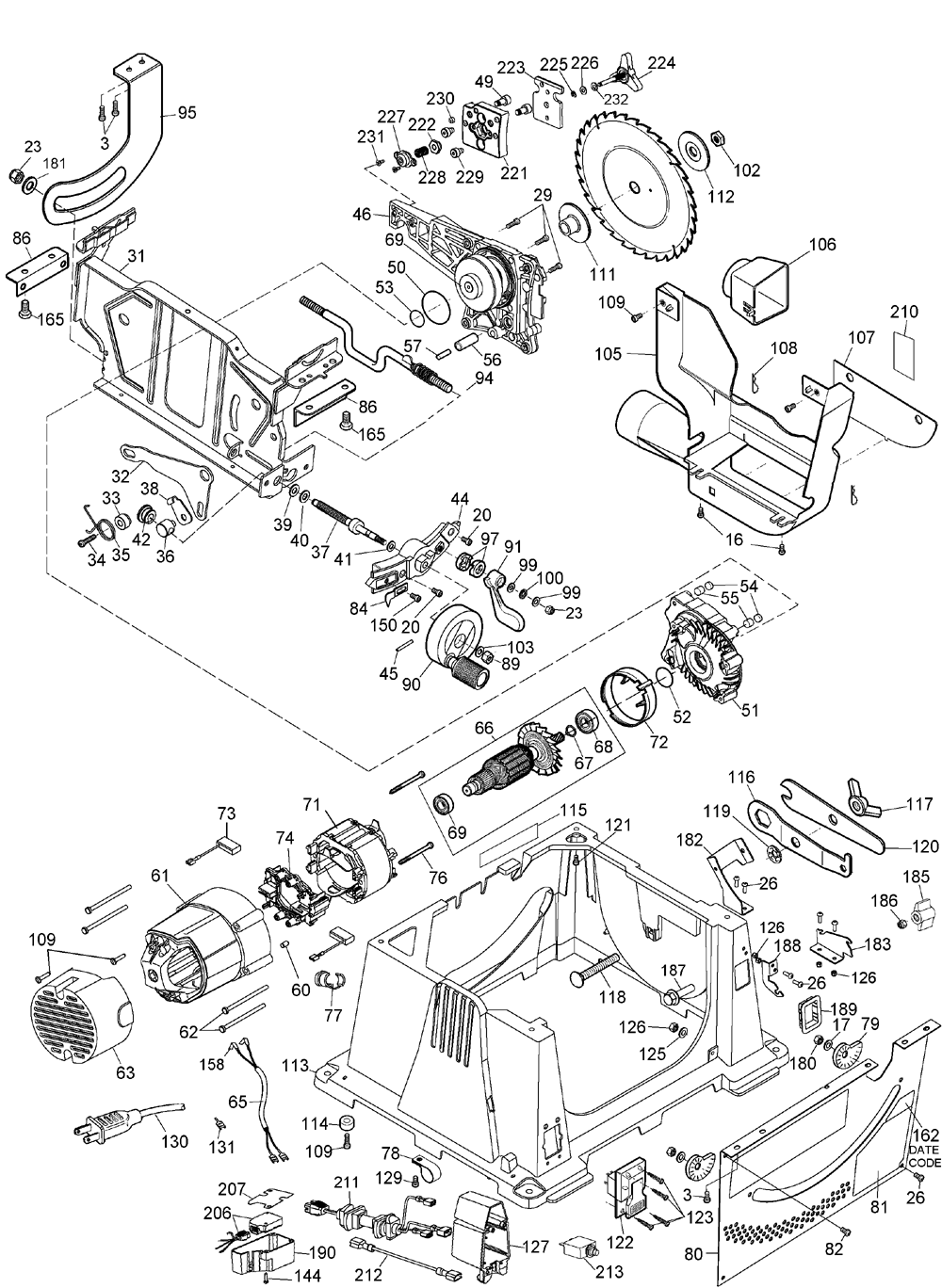 DW744XRS - Table Saw Parts schematic