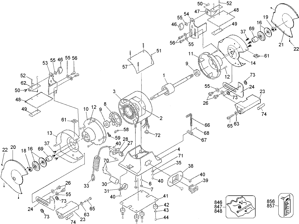 DW758 - Bench Grinder Parts schematic