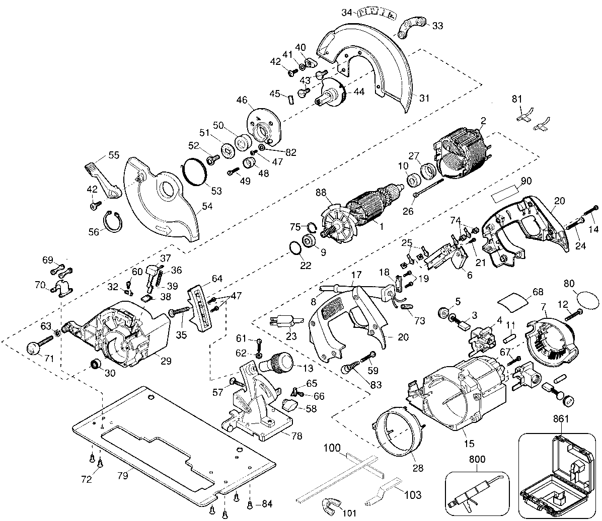 DW364 - Circular Saw Parts schematic
