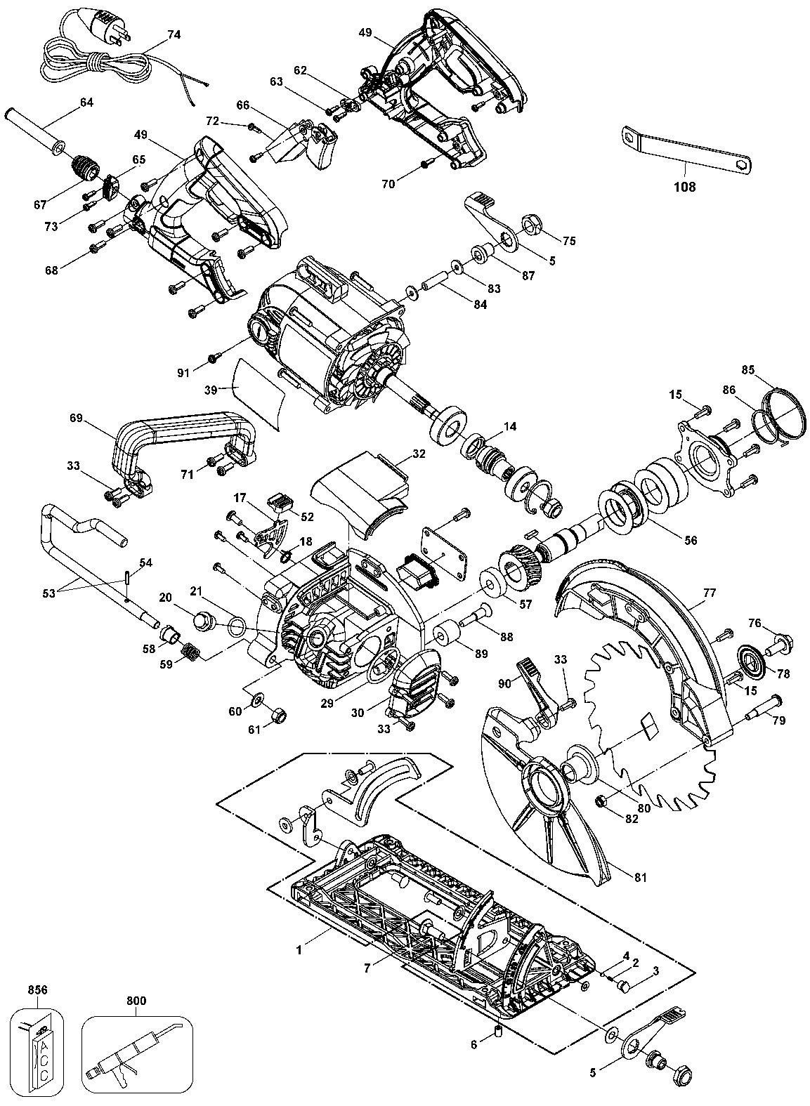 DWS535 - Worm Drive Circular Saw Parts schematic