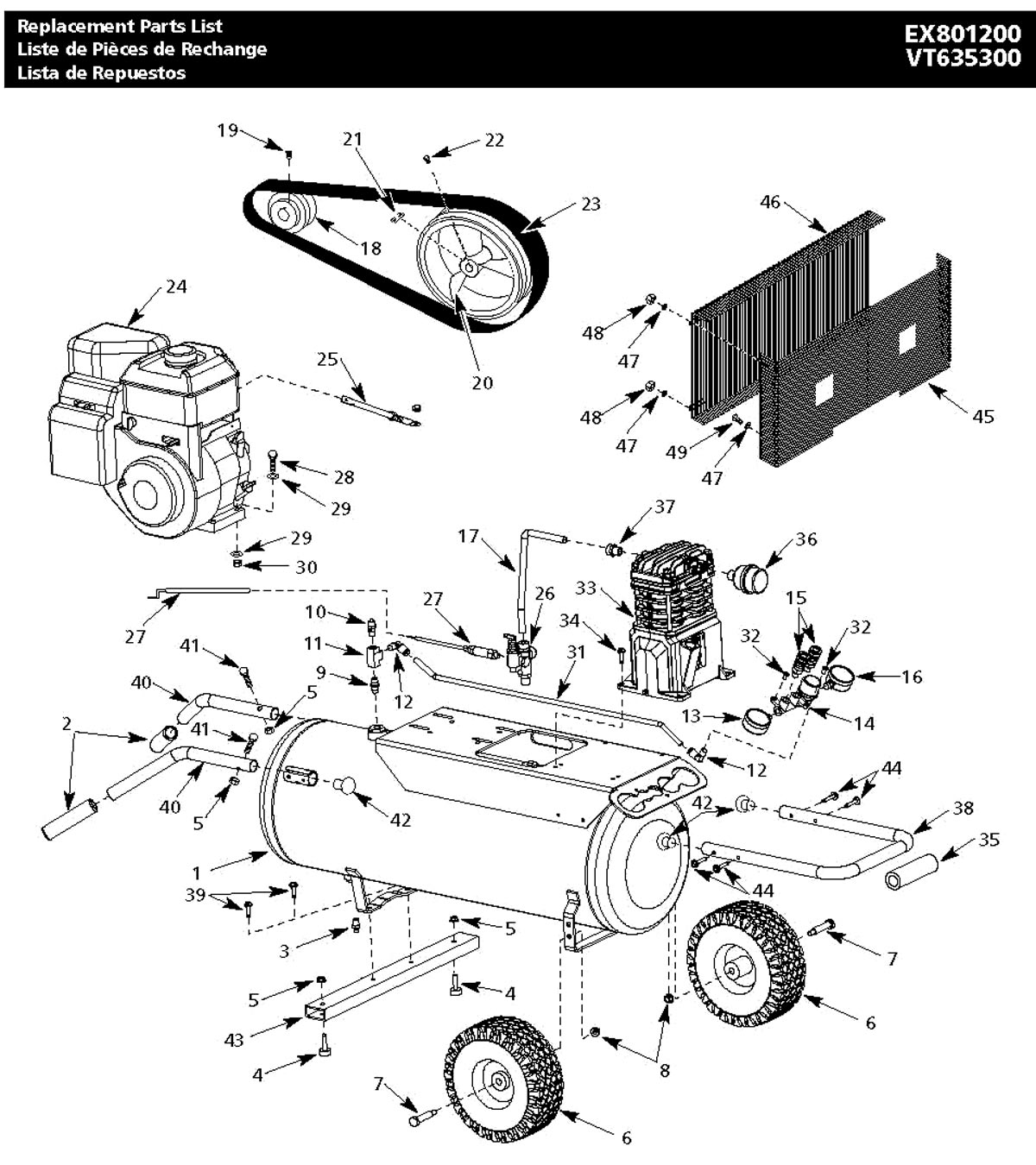 EX801200, VT635300 - Air Compressor Parts schematic