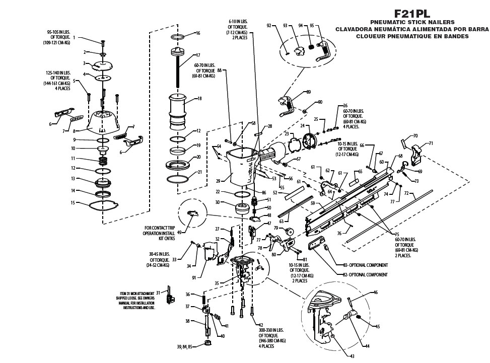 F21PL - Pneumatic Framing Nailer Parts schematic