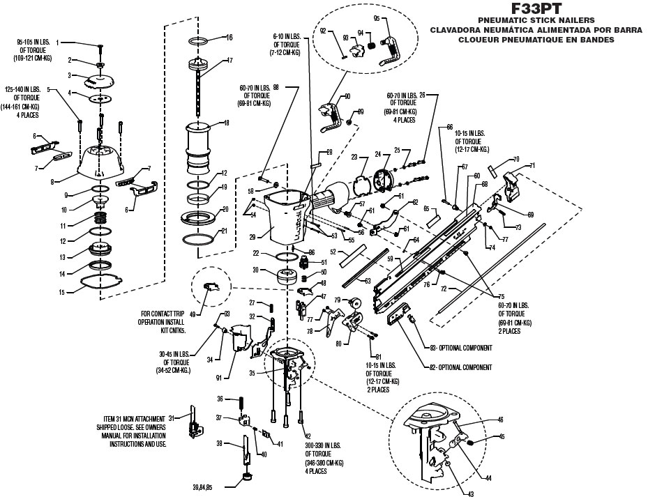 F33PT - Pneumatic Framing Nailer Parts schematic