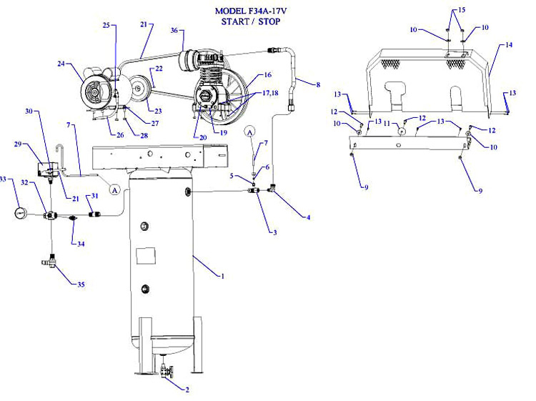 F34A-17V - Air Compressor Parts schematic