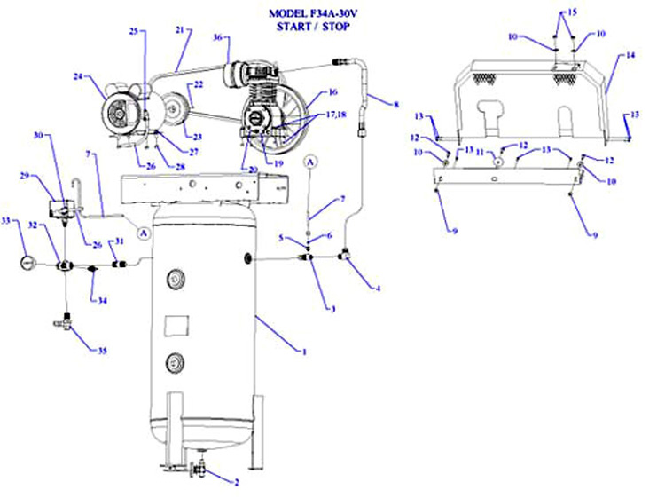 F34A-30V - Air Compressor Parts schematic