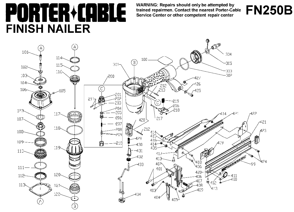 FN250B - Pneumatic Finish Nailer Parts schematic