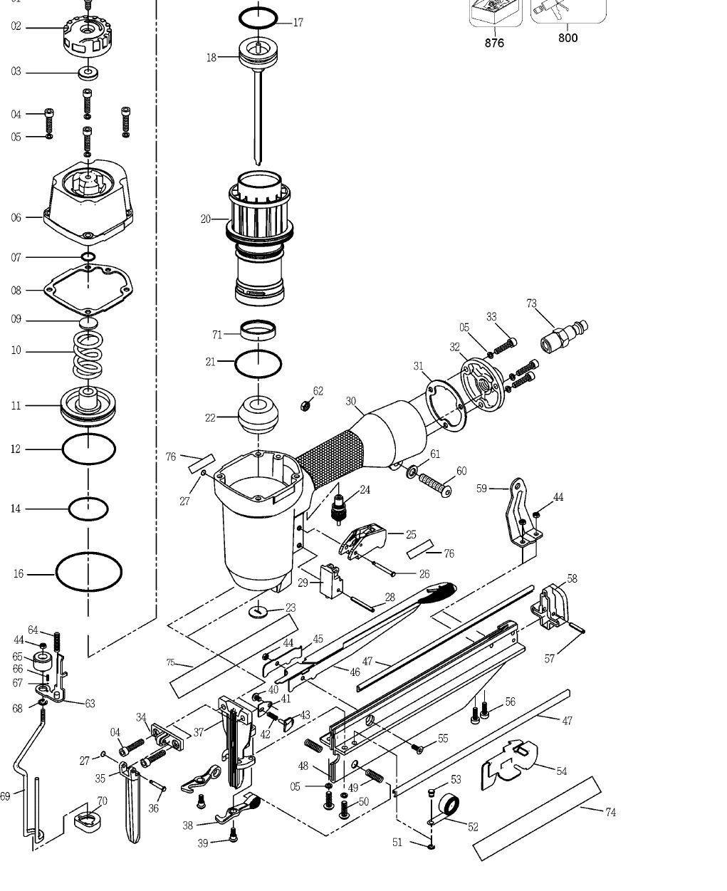 Pneumatic Counter Schematic Part : Porter cable nailer fn sb type