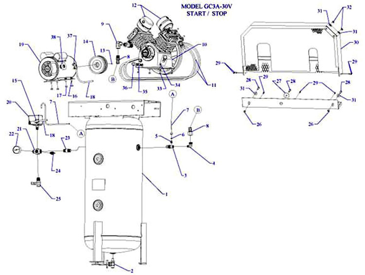GC3A-30V - Air Compressor Parts schematic