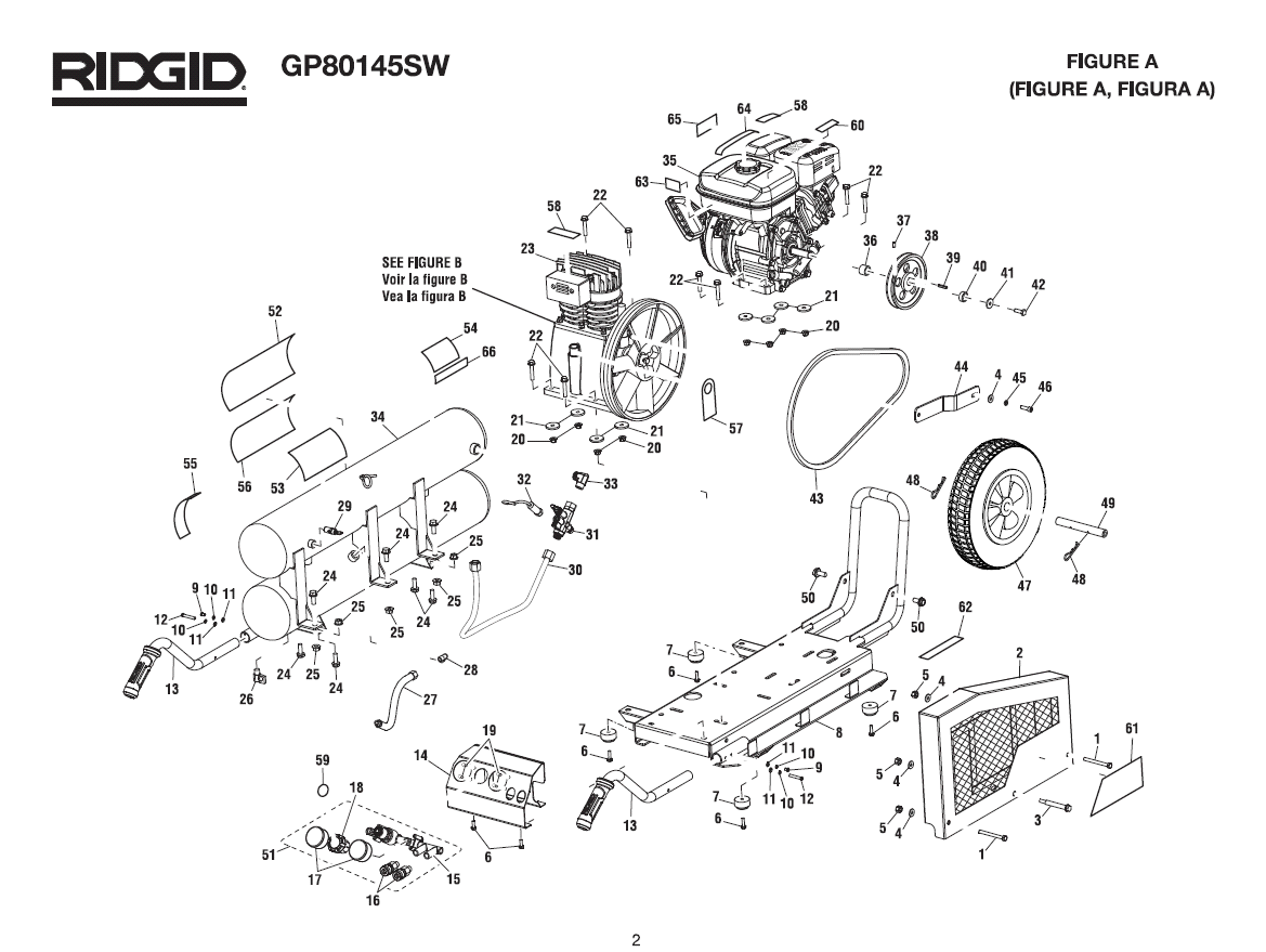 GP80145SW - Air Compressor Parts schematic