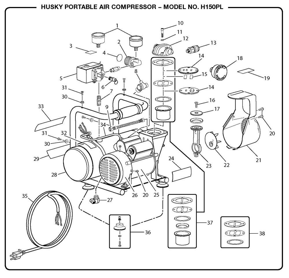 H150PL - Air Compressor Parts schematic