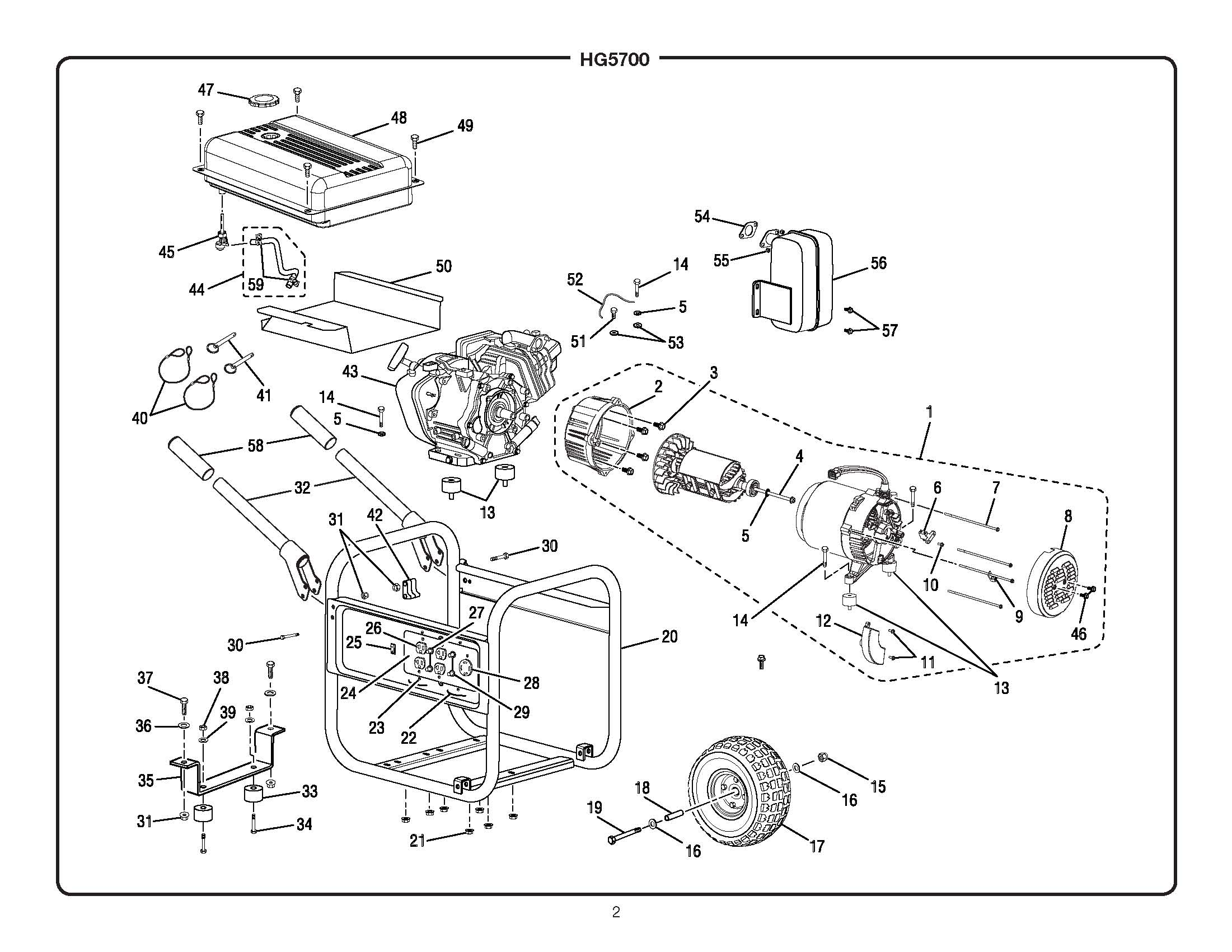 Sears Craftsman 4000 Watt Generator Manual Wiring Diagram Parts Hg5700