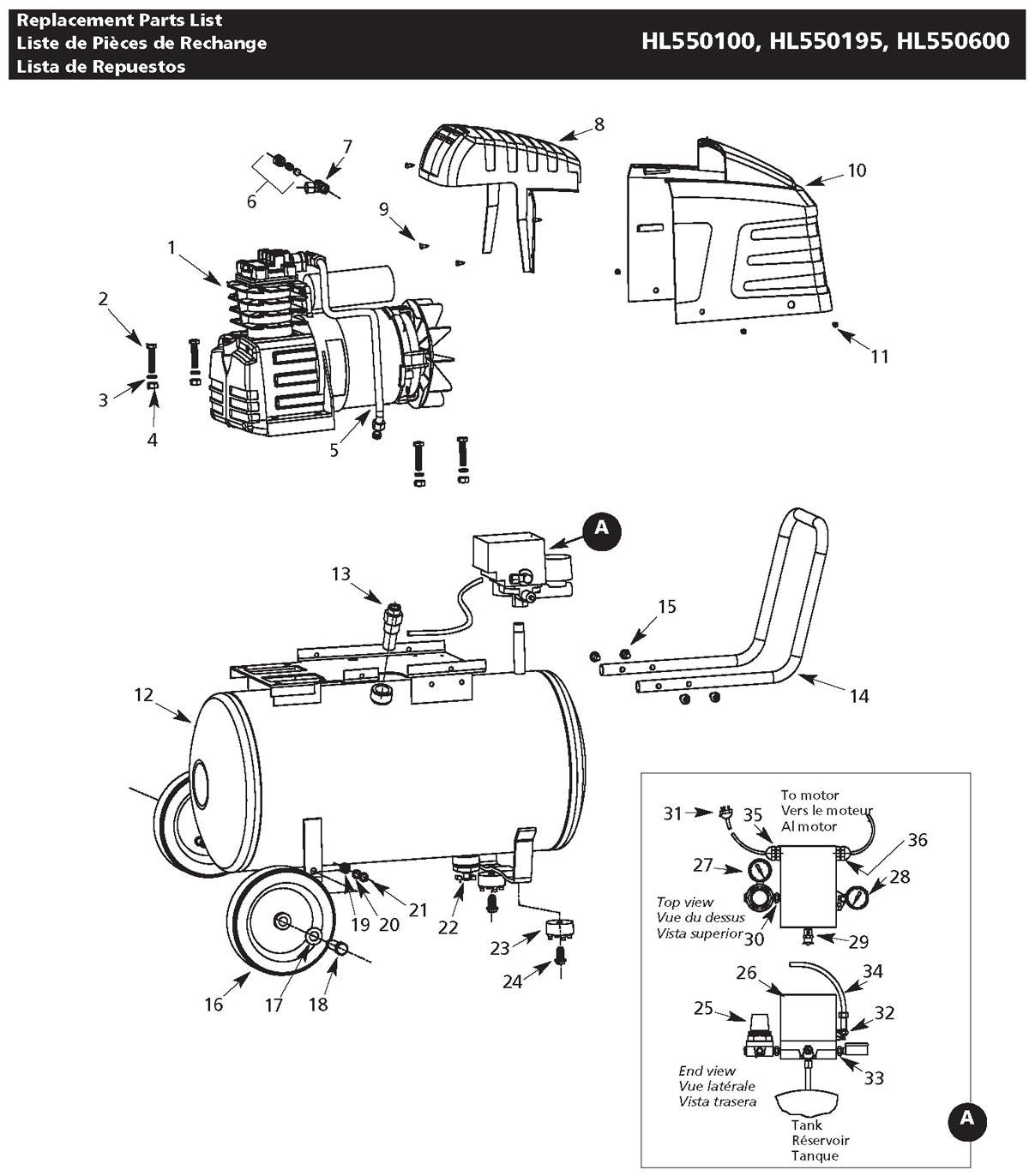 HL550100, HL550195, HL550600 - Air Compressor Parts schematic
