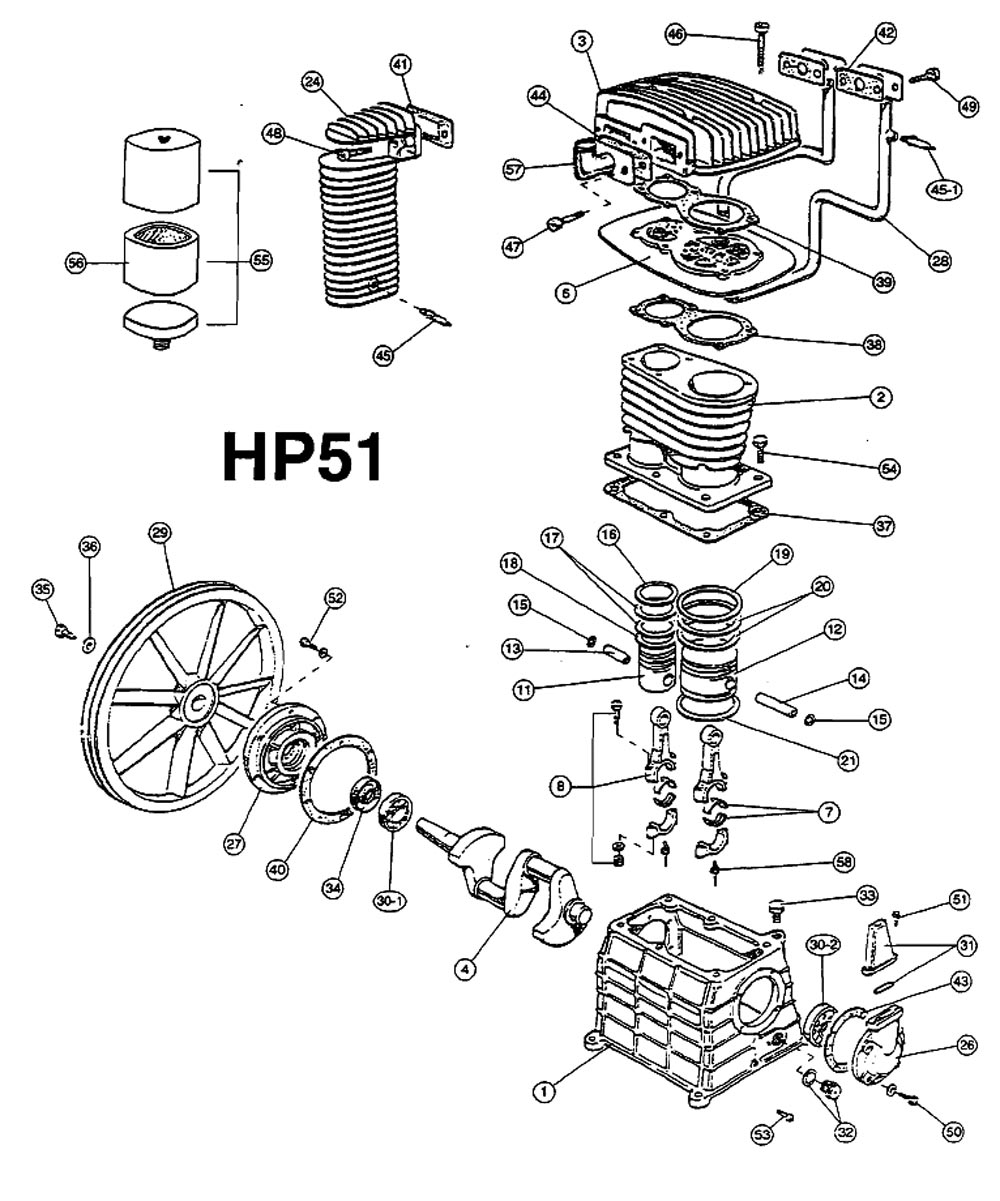 HP51 - Air Compressor Pump Parts schematic