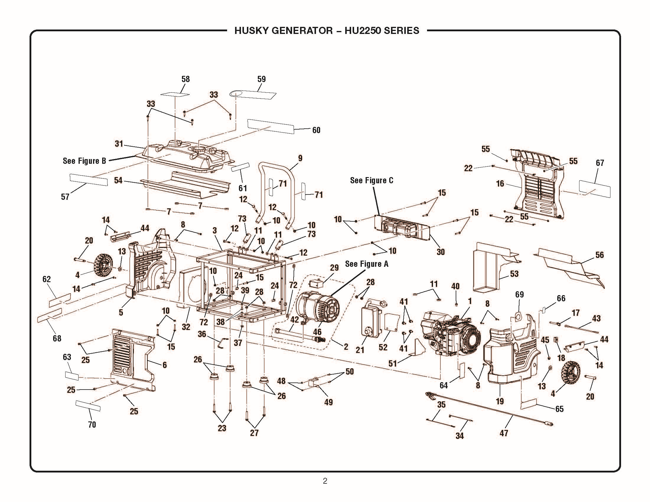 HU2250_frame_schematic husky hu2250 repair parts husky 5000 watt generator wiring diagram at mr168.co
