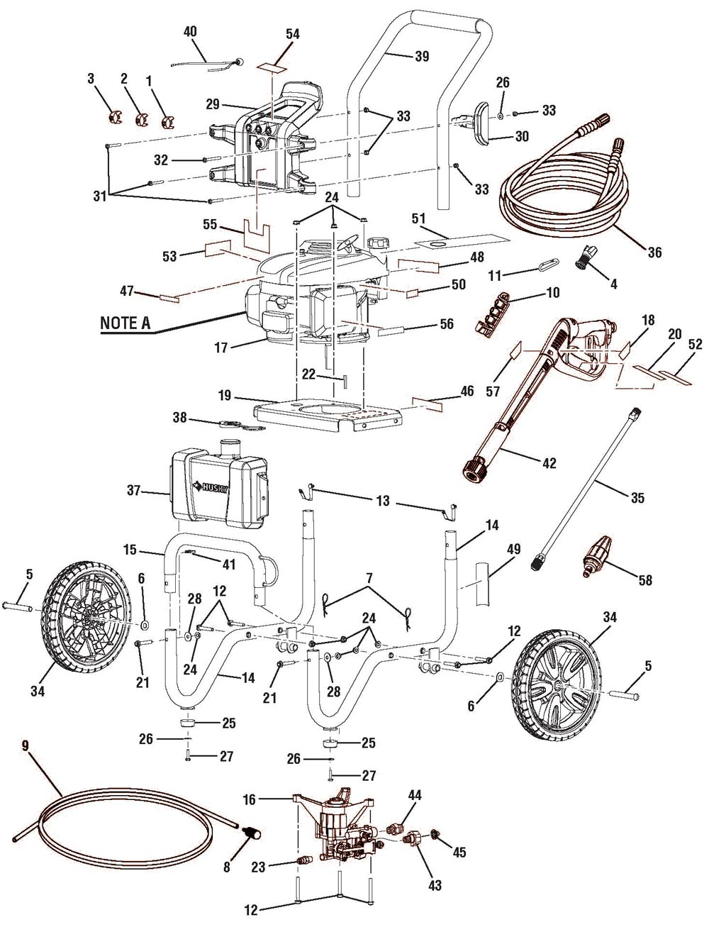 HU80432, HU80432A   Pressure Washer Parts Schematic