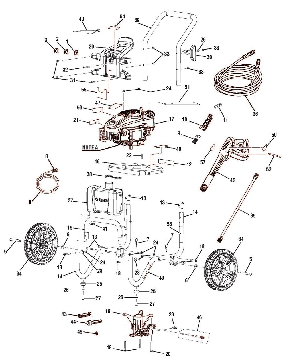 HU80709_HU80911_parts husky hu80709, hu80911 pressure washer parts diagram at bayanpartner.co